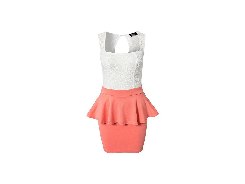 A Peplum šaty meruňkové s krajkou OH716