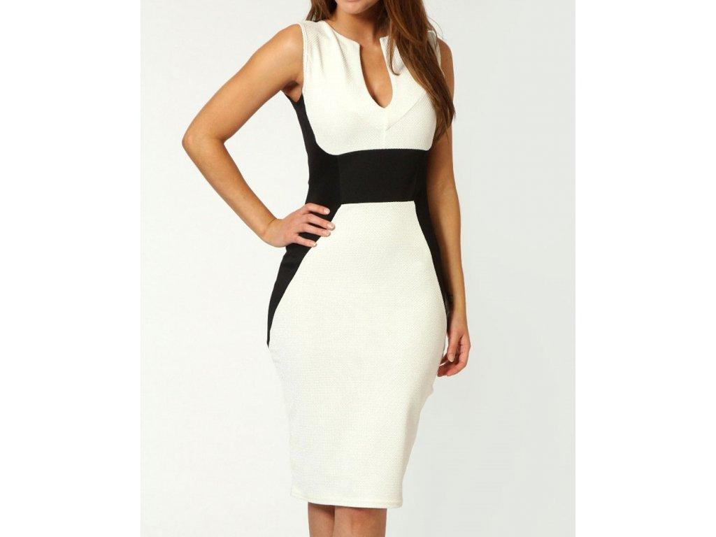A Bílé poudrové šaty bodycon s černým