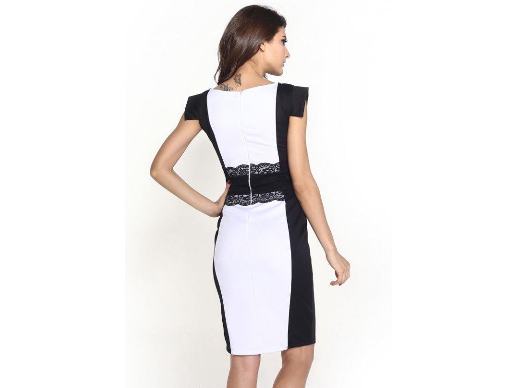 3838fee7258 A Elegantní pouzdrové šaty s krajkou bílé OH343 - trendy-obleceni.cz