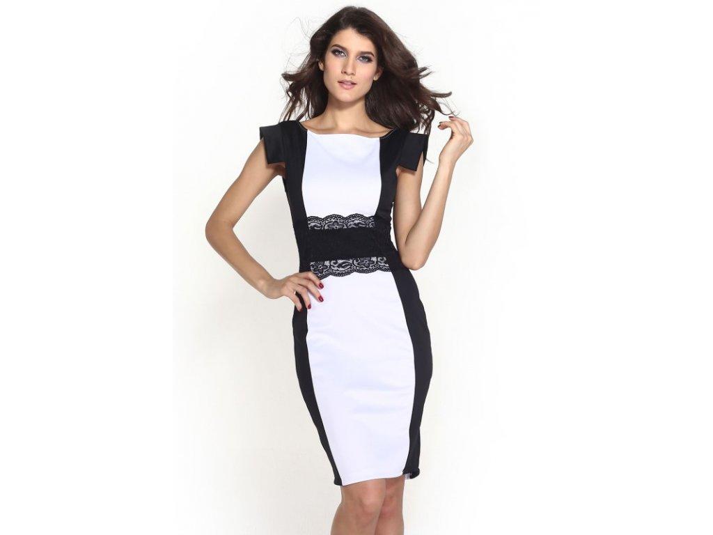 A Elegantní pouzdrové šaty s krajkou bílé OH343
