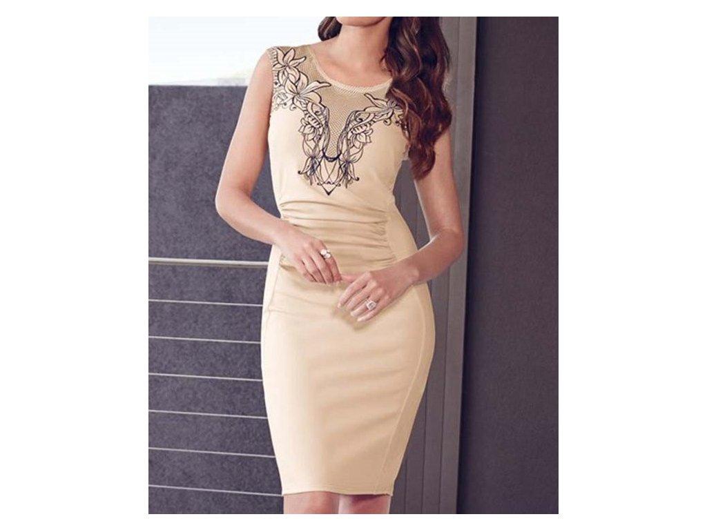 d8d7974bcff Elegantní pouzdrové šaty s výšivkou krémové OH82 - trendy-obleceni.cz