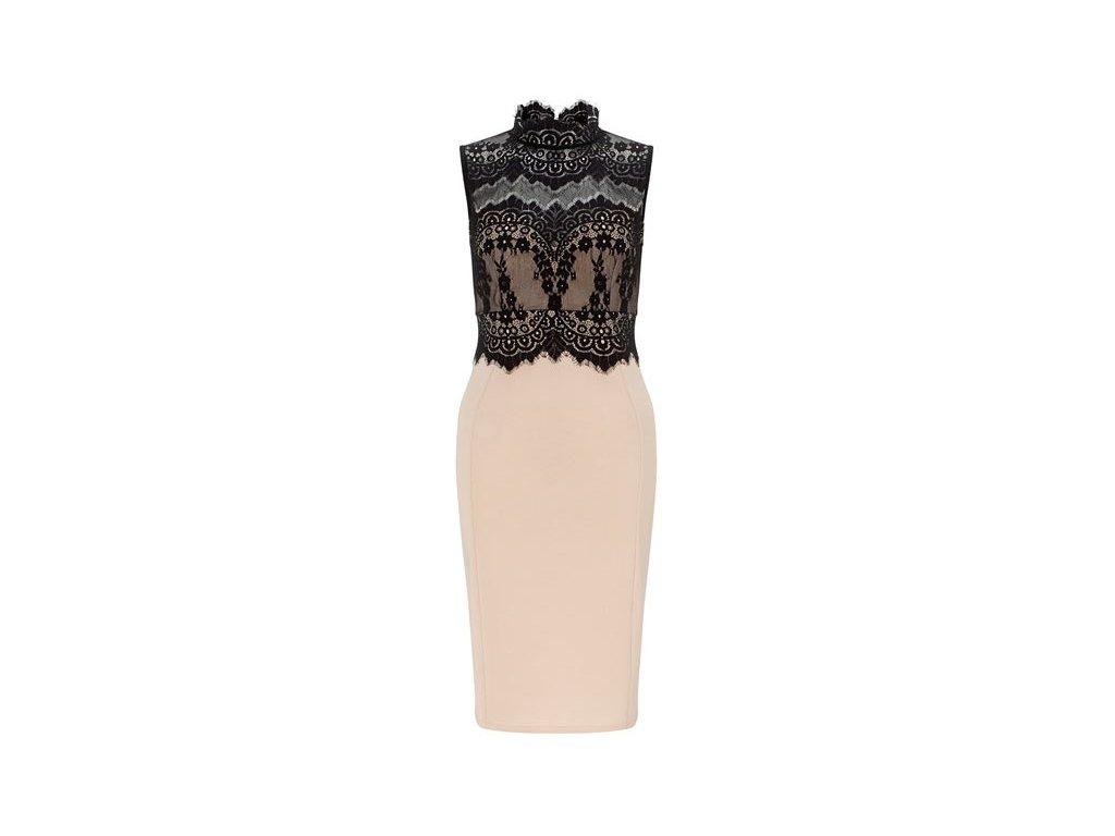 A Pouzdrové šaty béžové s krajkou DL488