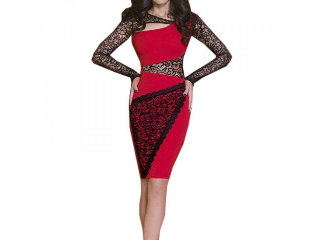 A Pouzdrové šaty červené s krajkou MOO94