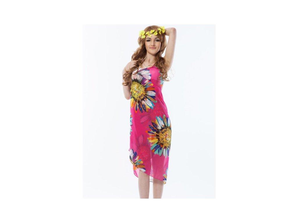 A Plážové zavinovací šaty s květy růžové