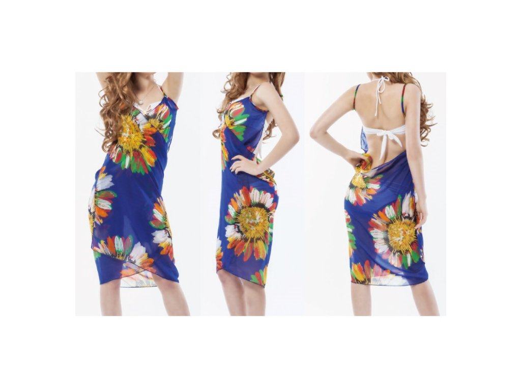 A Plážové zavinovací šaty s květy modré