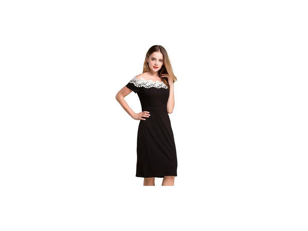 A Elegantní šaty s krajkou černé  803