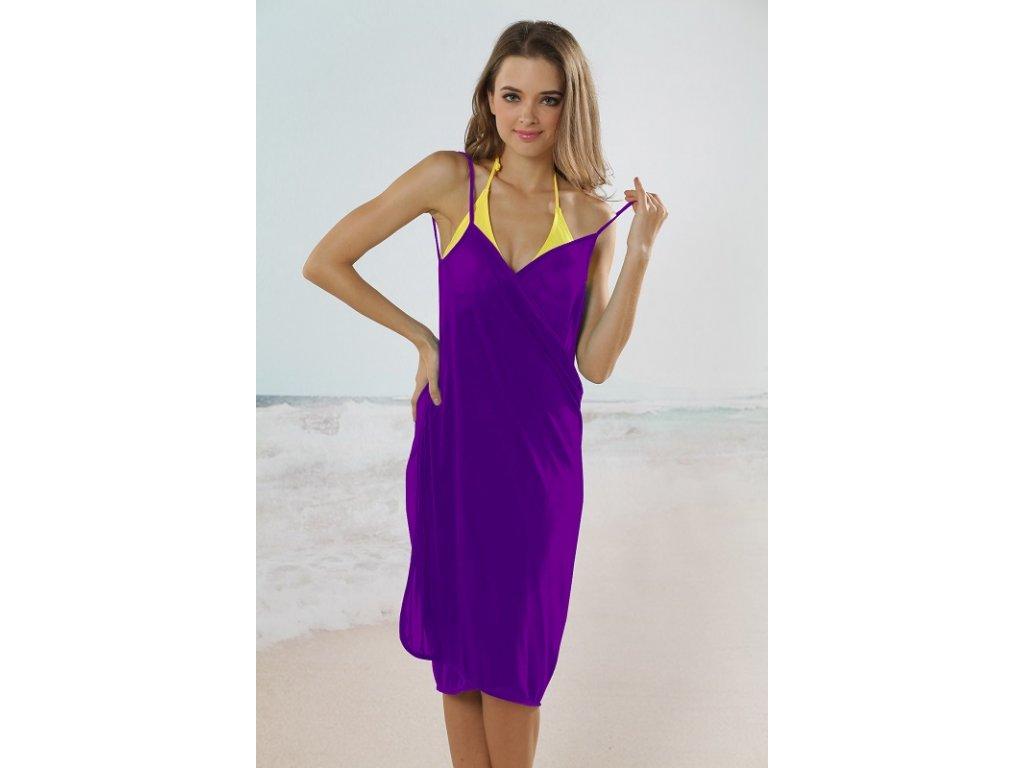 b63a71c0bf6 Plážové zavinovací šaty jednobarevné fialové - trendy-obleceni.cz