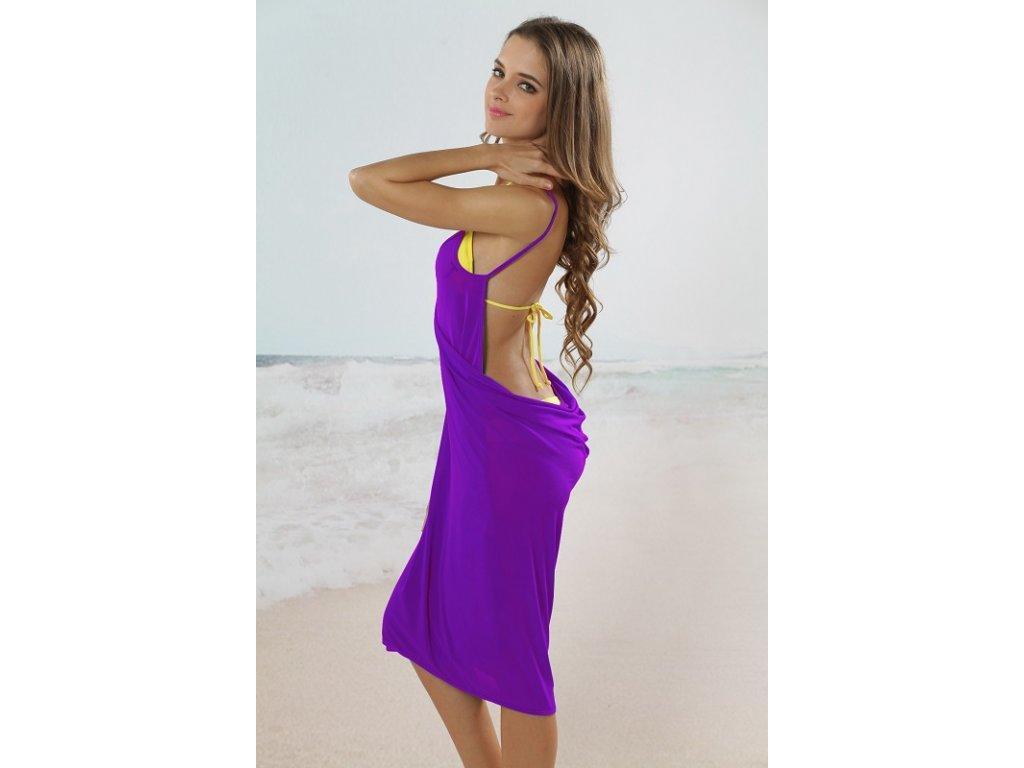 Plážové zavinovací šaty jednobarevné fialové - trendy-obleceni.cz 1d3791b700