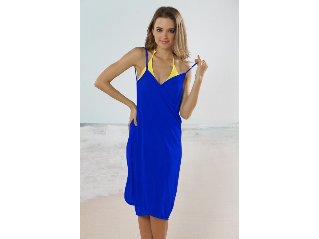 dfd659c0e4a8 Plážové zavinovací šaty jednobarevné modré - trendy-obleceni.cz