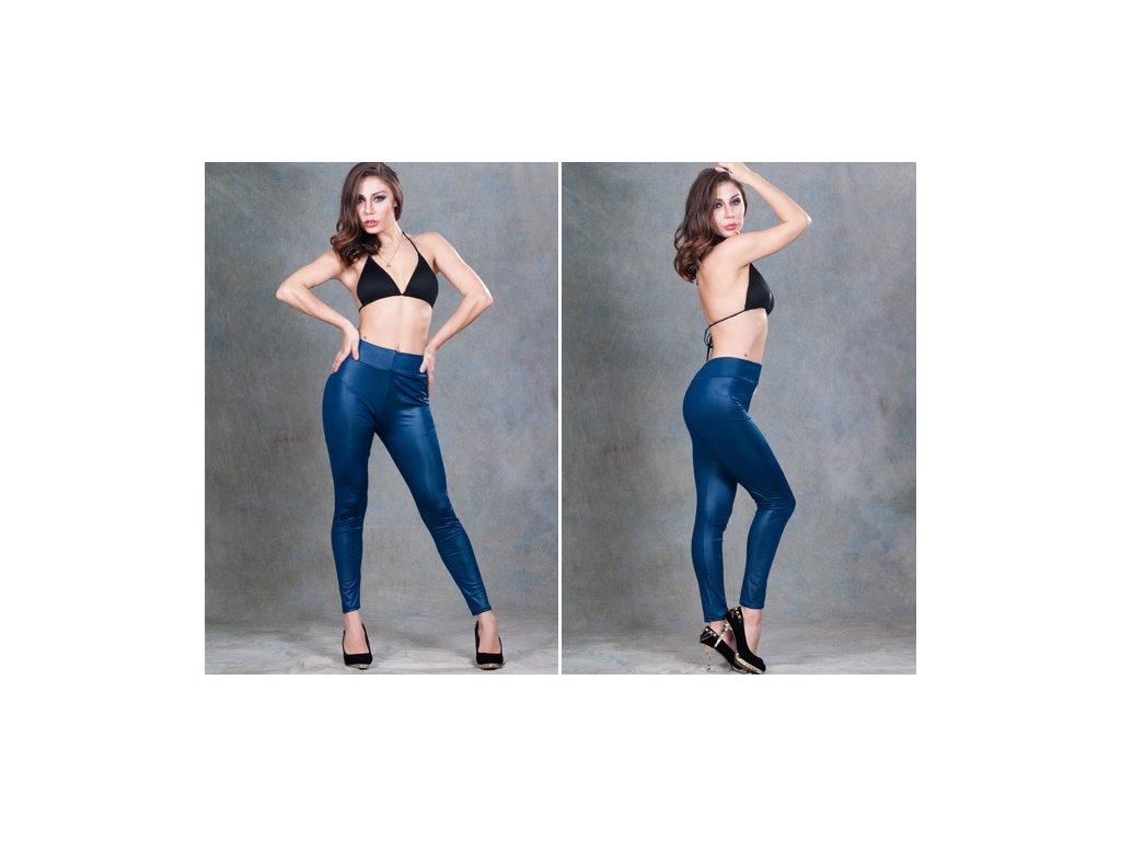 Dámské modré lesklé legíny, leggins vyšší pas 21-30