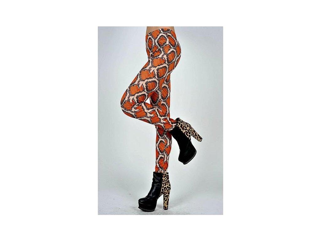 Dámské legíny, leggins hadí hůže oranžové 40-84