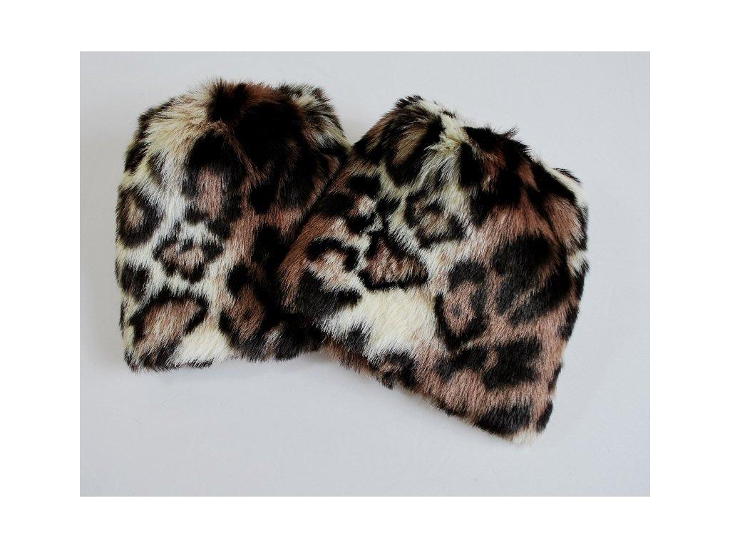 Chlupaté návleky na boty leopard