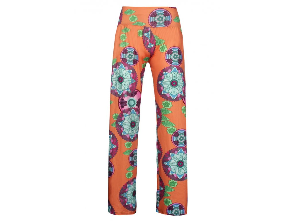A Dámské vzorované kalhoty oranžové