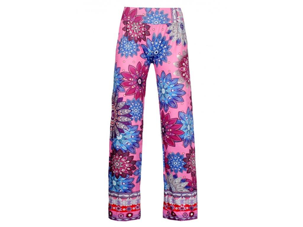 A Dámské vzorované kalhoty růžové