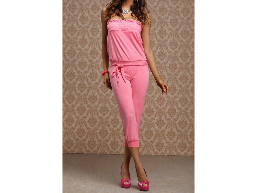 A Luxusní dámský overal s řasením růžový LM moda
