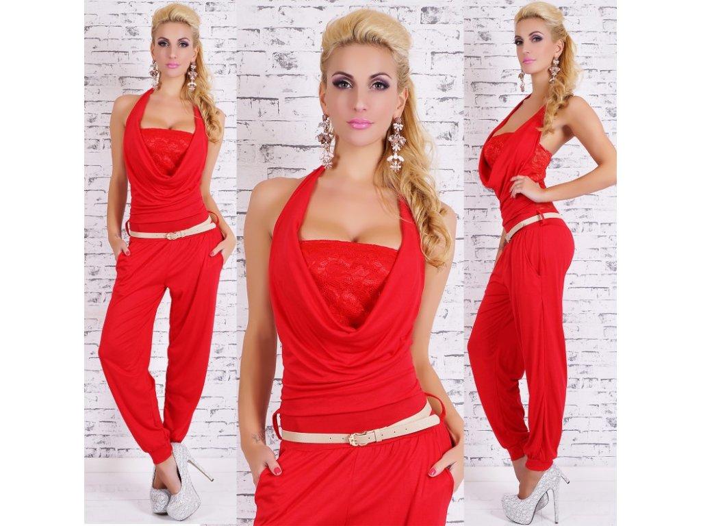 Overal elegantní červený krajkovaný ST125