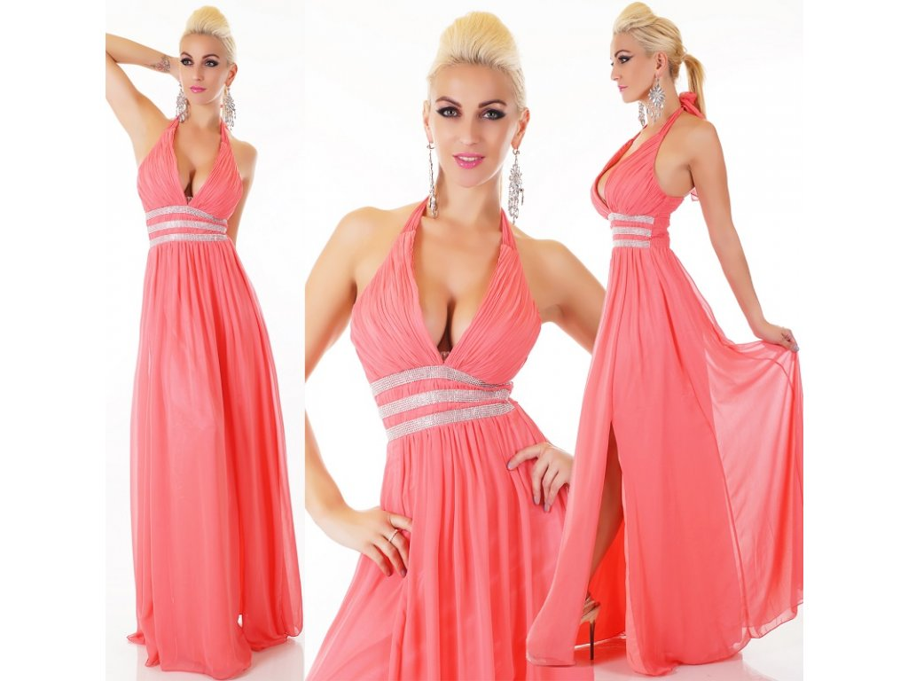 Plesové šaty korálové dlouhé s kamínky ST138