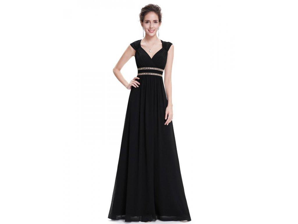 Ever Pretty šaty dlouhé elegantní černé 8697 (Velikost 3XL / 48 / 16 / 20)