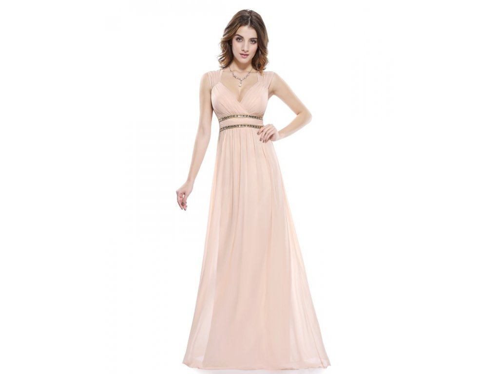 Ever Pretty šaty dlouhé elegantní krémové 8697 (Velikost 3XL / 48 / 16 / 20)