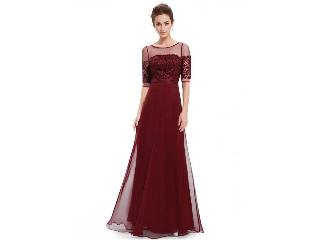 Elegantní Ever Pretty plesové šaty bordo 8459 (Velikost 3XL / 48 / 16 / 20)