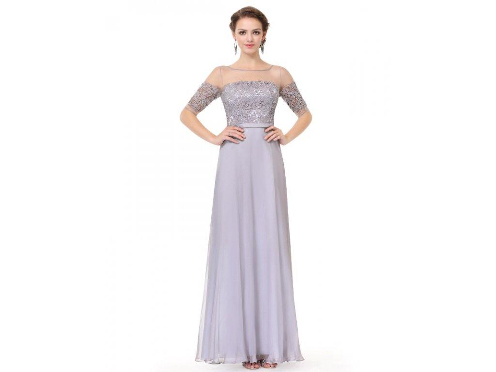Elegantní Ever Pretty plesové šaty šedé 8459 (Velikost 3XL / 48 / 16 / 20)