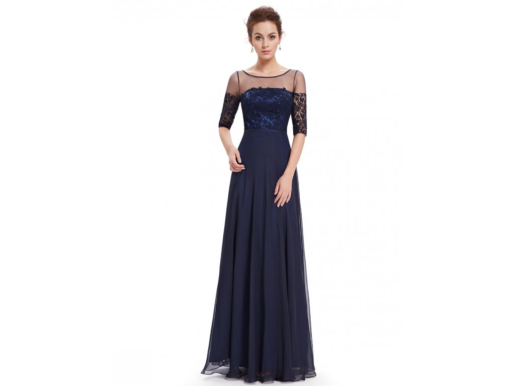 Elegantní Ever Pretty plesové šaty tmavě modré 8459 (Velikost 3XL / 48 / 16 / 20)
