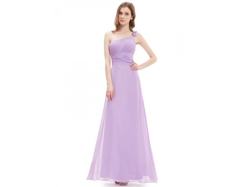 Fialové dlouhé šaty na jedno ramínko 9596 (Velikost 3XL / 48 / 16 / 20)