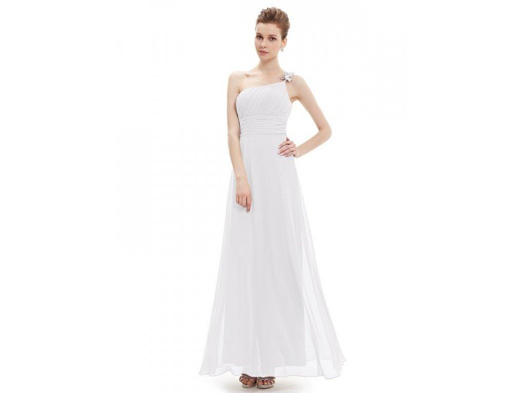 Luxusní šifonové bílé šaty na jedno ramínko 9596 (Velikost 3XL / 48 / 16 / 20)