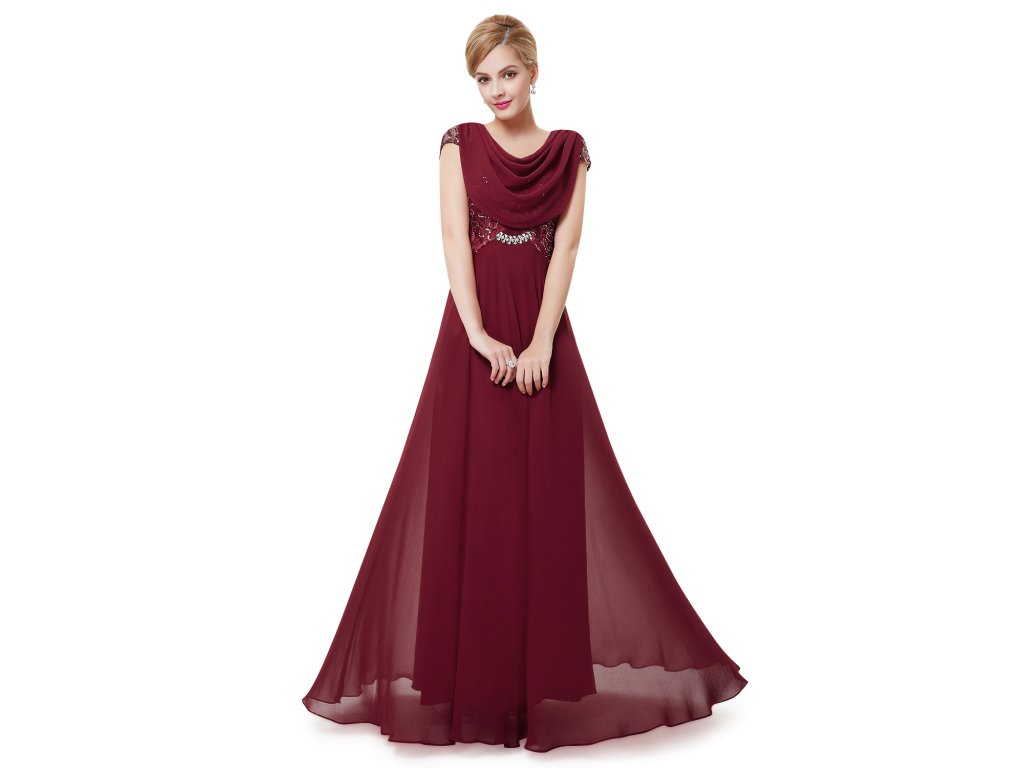 Dámské elegantní Ever Pretty plesové šaty bordo 9989 (Velikost 3XL / 48 / 16 / 20)