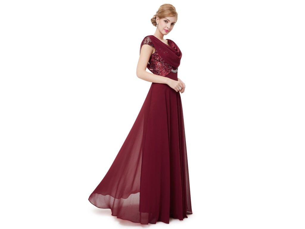 ... Dámské elegantní Ever Pretty plesové šaty bordo 9989 (Velikost 3XL   48    16   4718a85f30