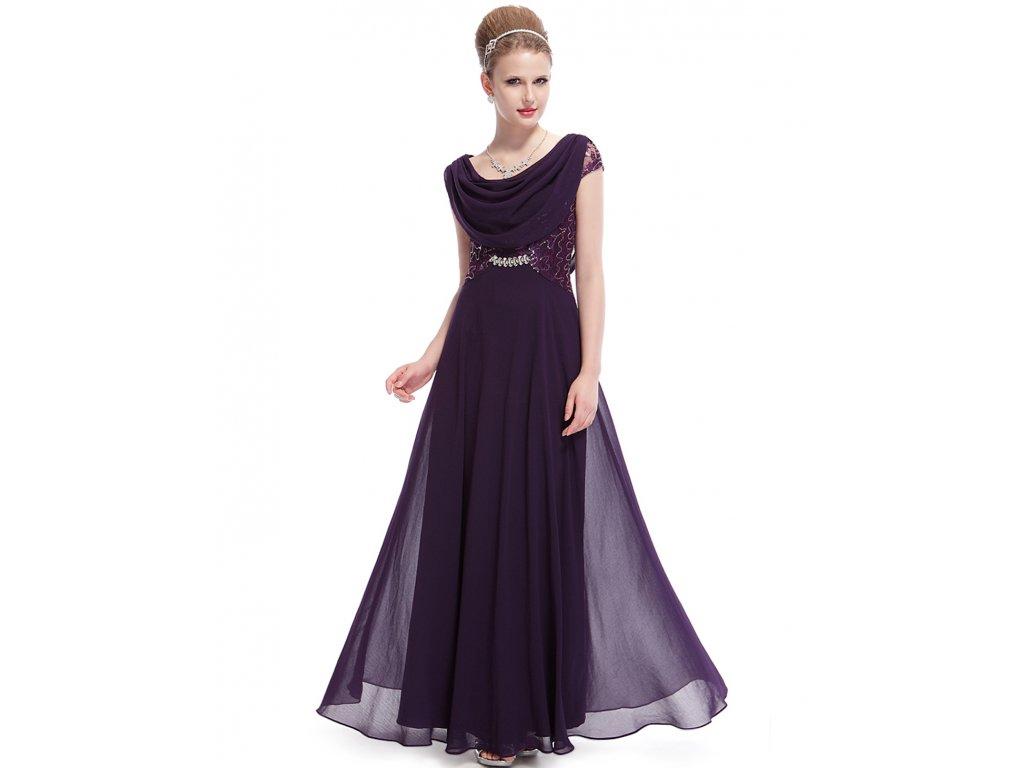 Dámské elegantní Ever Pretty plesové šaty fialové 9989 (Velikost 3XL / 48 / 16 / 20)