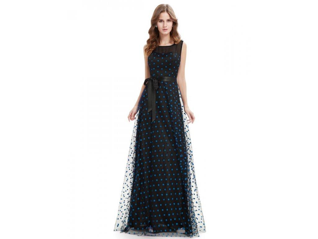 Dámské elegantní Ever Pretty plesové šaty černé s modrými puntíky 8753  (Velikost 3XL   48 62994fce8b