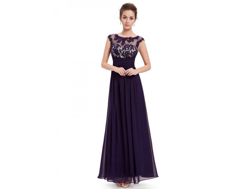 Dámské elegantní Ever Pretty plesové šaty fialové 8441 (Velikost 3XL / 48 / 16 / 20)