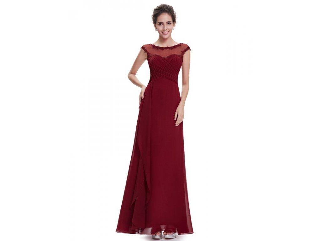Elegantní Ever Pretty plesové šaty bordo 8619 (Velikost 3XL / 48 / 16 / 20)