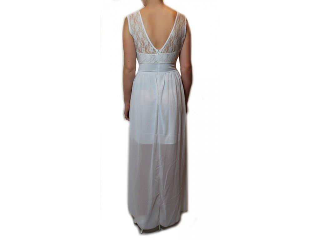 ... A Bílé šifonové šaty dlouhé s krajkou 84-1 ... c5027d03e3
