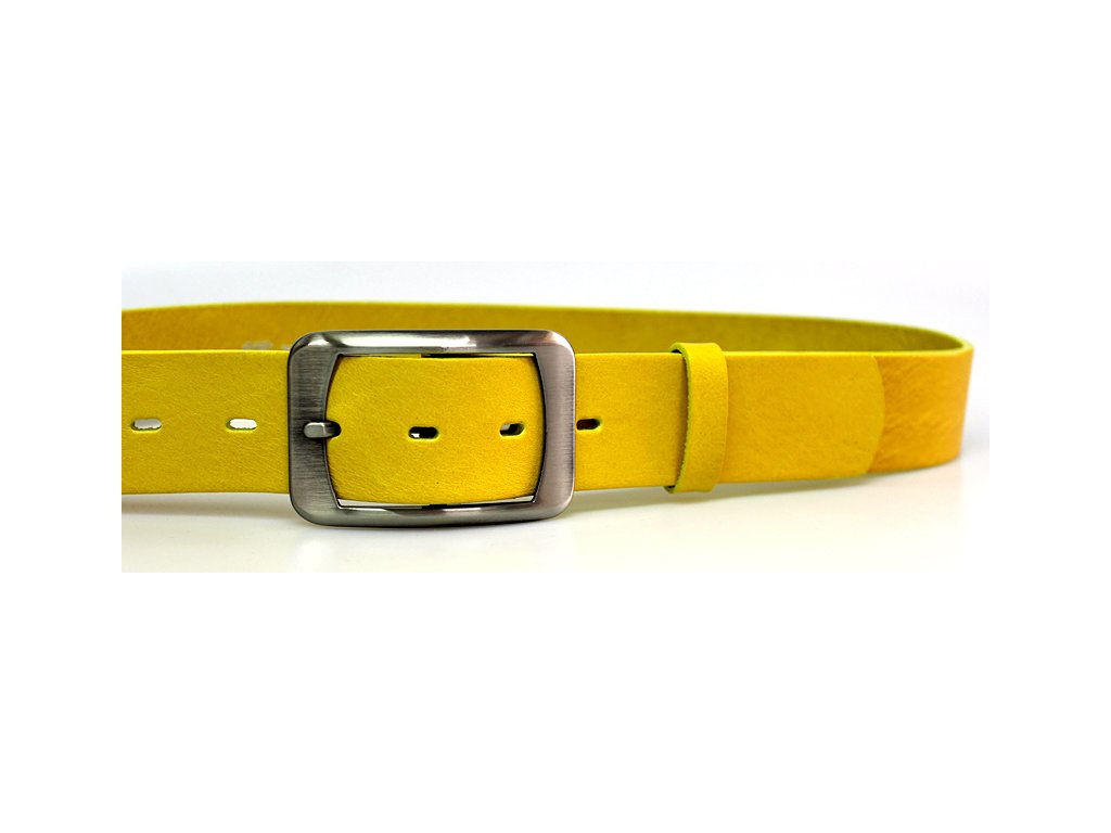 A Dámský žlutý pásek s hranatou sponou ČR 4cm
