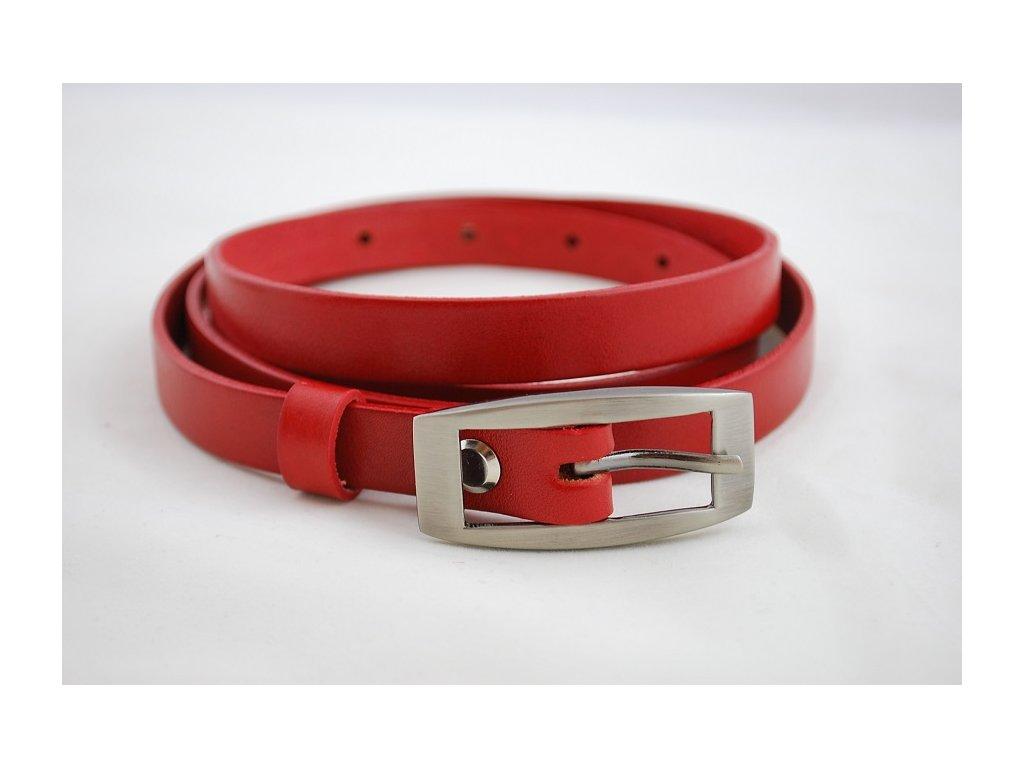 A Dámský kožený úzký pásek červený 15-2-93