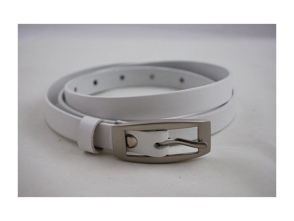 A Dámský kožený opasek bílý pásek úzký 15-2-00