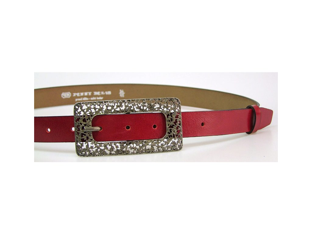 A Dámský kožený opasek 509-93 červený