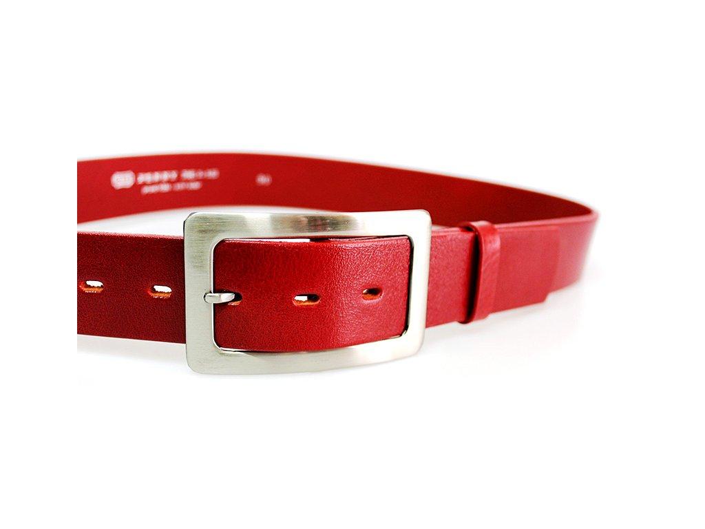 A Dámský kožený pásek 4cm  široký - červený 4293