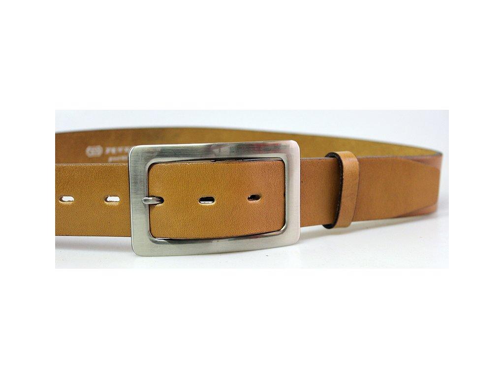A Dámský kožený pásek 4cm široký - SVĚTLE HNĚDÝ 4242