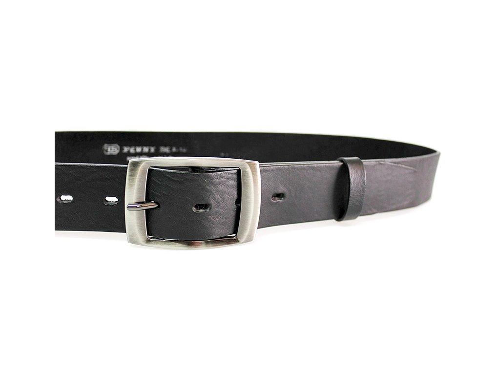 A Dámský kožený pásek 4cm široký - ČERNÝ 4463