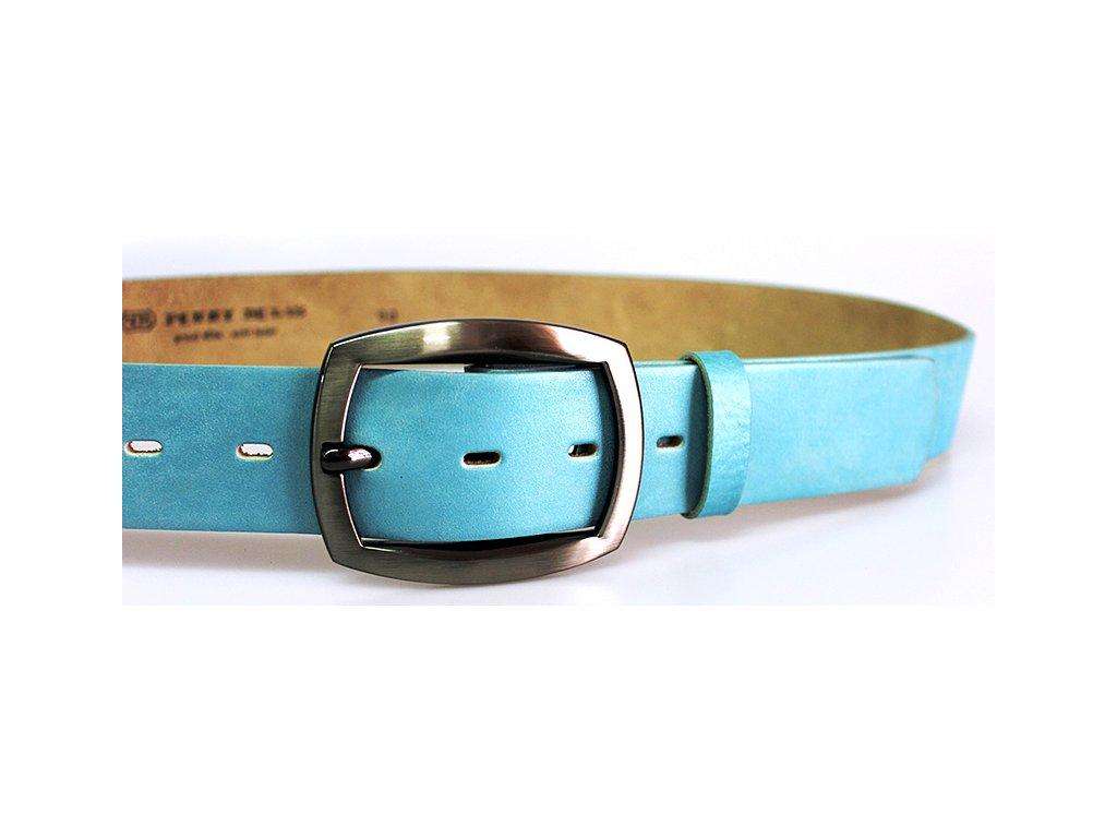 A Dámský kožený pásek 4cm široký - SVĚTLE MODRÝ 47502