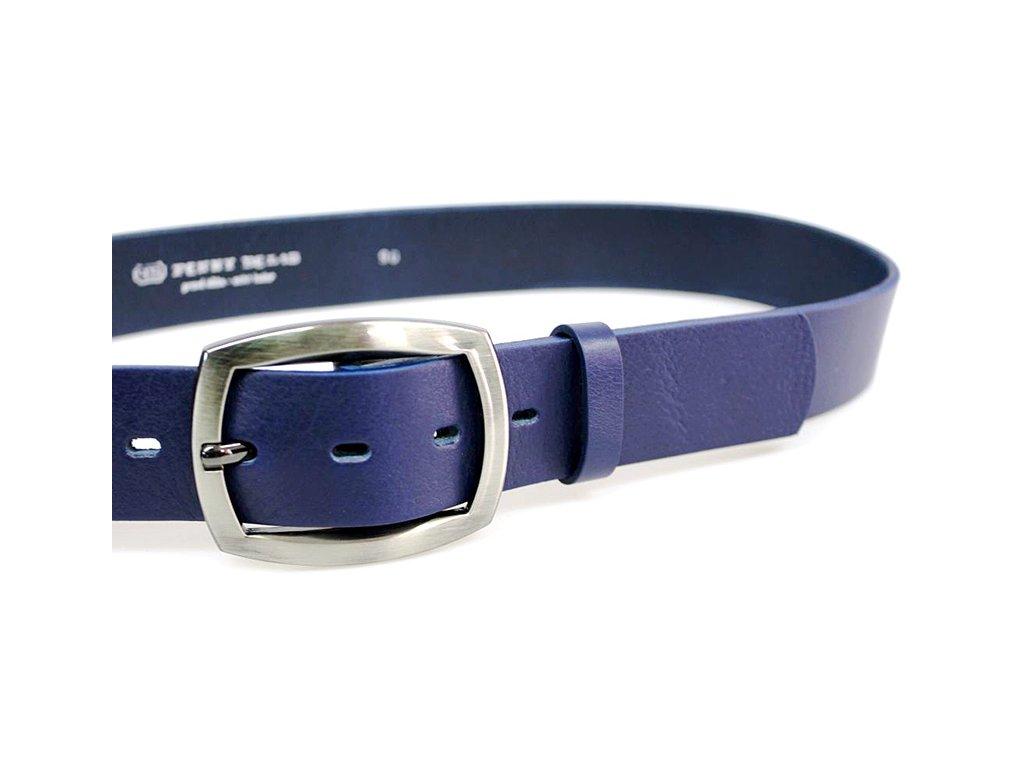 A Dámský kožený pásek 4cm široký - Modrý 4756