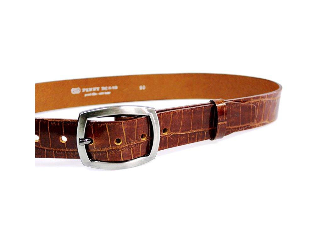A Dámský kožený pásek 4cm široký - HNĚDÝ 47K40