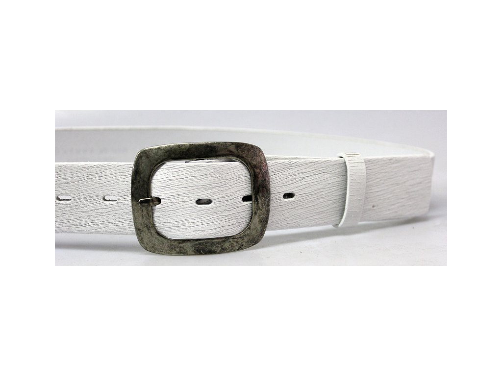 A Dámský kožený pásek 4cm široký - BÍLÝ 5001