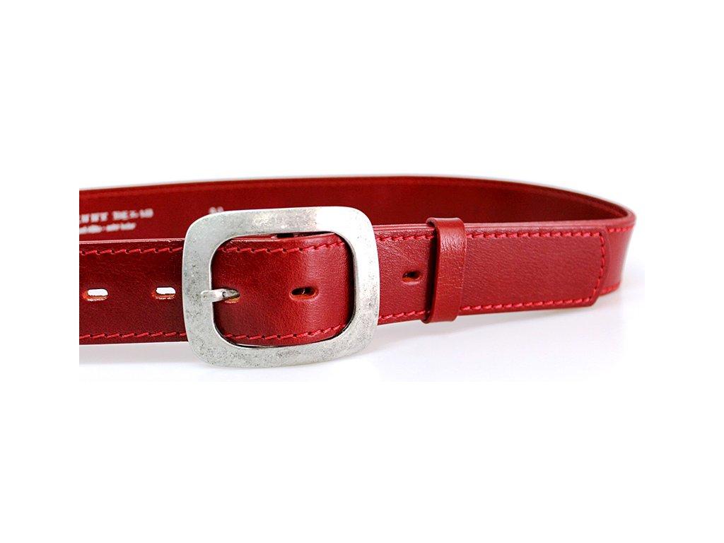 A Dámský kožený pásek 4cm široký - Červený 5093
