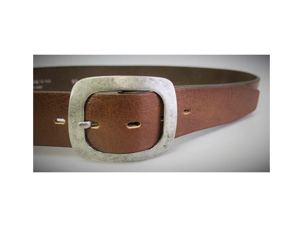 A Dámský kožený pásek 4cm široký - HNĚDÝ 5048