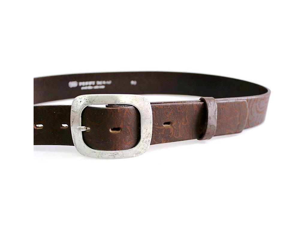 A Dámský kožený pásek 4cm široký - Hnědý 50V240