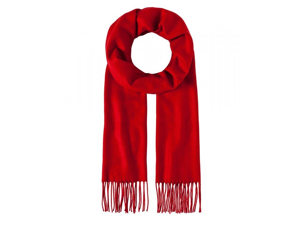 Luxusní šála unisex červená s třásněmi